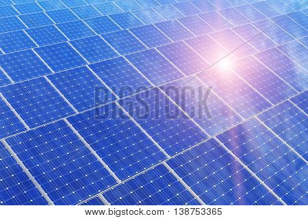3D render illustration of the group of solar battery panels against blue sky with sun light