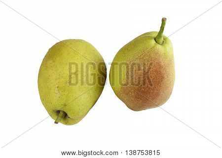 two Fragrant pears . sweet fragrant flavor and aroma on isolated white background and with work paths