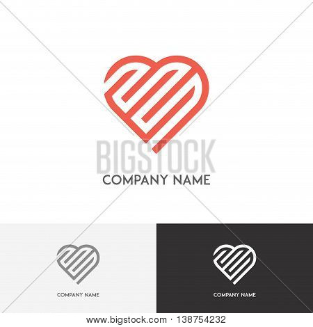 Love logo - labyrinth and heart on the white background