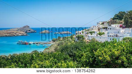 Bay of Lindos on Rhodes, Greece. Landscape