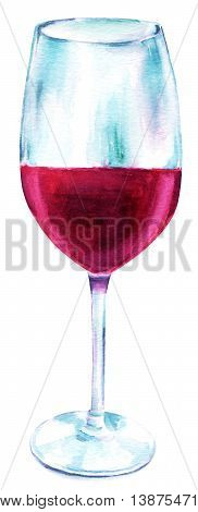 A watercolor drawing of a glass of red wine hand painted in retro style on white background