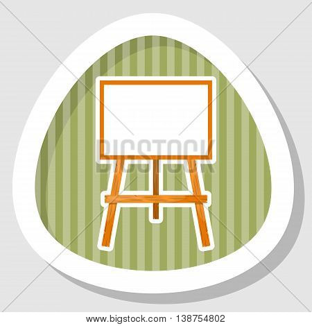 Wooden easel with a blank canvas. Cartoon style style