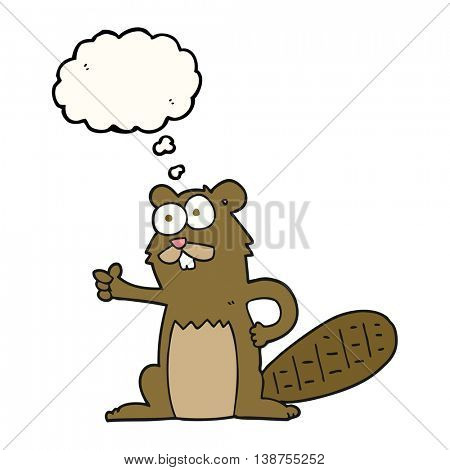 freehand drawn thought bubble cartoon beaver