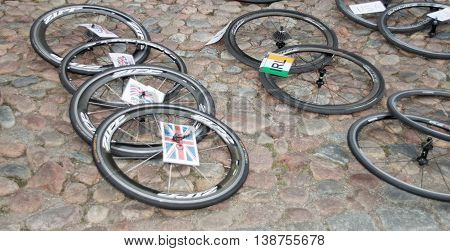 STOCKHOLM - JUL 02 2016: Lots of spare cycle wheels on the ground in the Women's ITU World Triathlon series event July 02 2016 in Stockholm Sweden