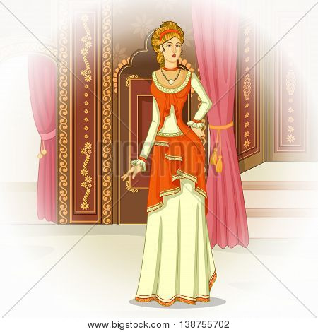 Vector design of elegant vintage Victorian woman
