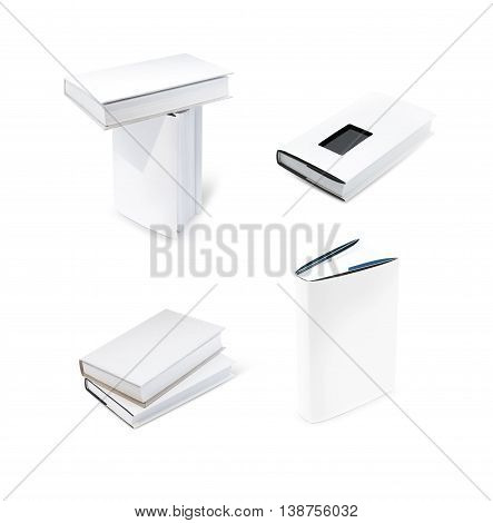 Blank book with white cover isolated on white background