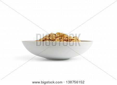 Corn flakes isolated in a plate on white background. With clipping path.