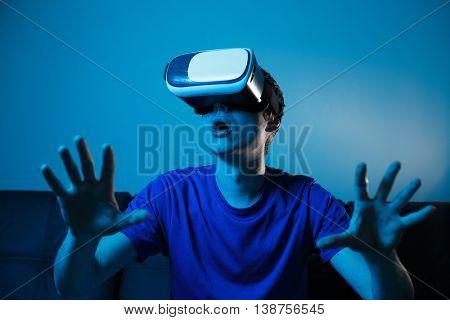 Man using VR glasses