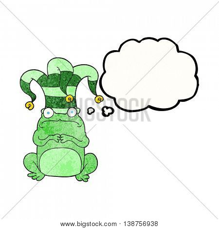 freehand drawn thought bubble textured cartoon frog wearing jester hat