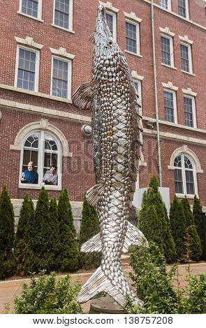Hyde Park, NY  The Culinary Institute of America. 12 foot sculpture named Old Diamondsides made of 1700 forks, spoons and knives, and created by John F. Sendelbach unveiled in May 2015.