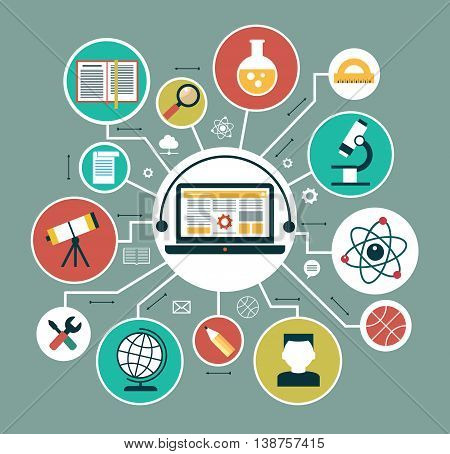 Modern vector illustration concept. Iinfographics background education. Concept of online education.