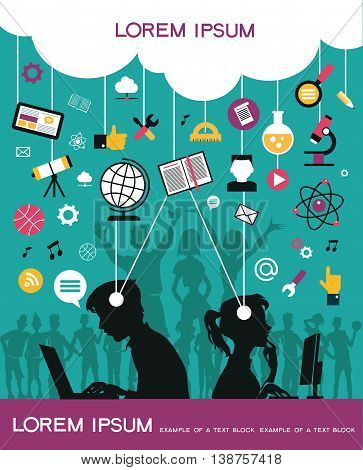 Infographic background concept of online education. Silhouettes of young people with online education icons.