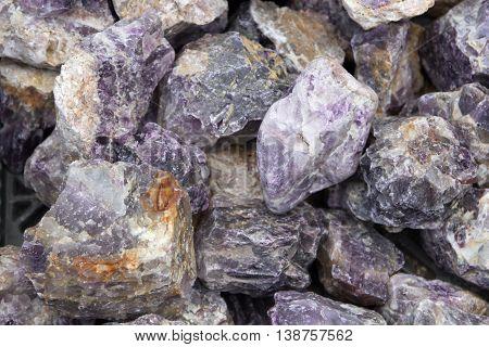 amethyst -a lot of semiprecious gemstones amethysts