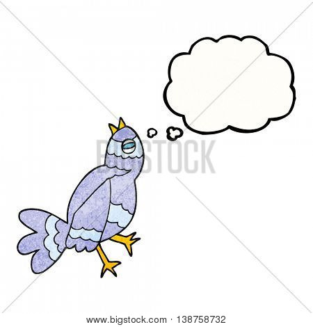 freehand drawn thought bubble textured cartoon bird singing