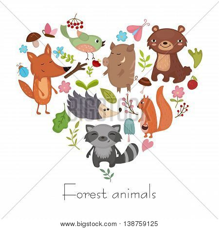 Forest animals vector set of icons and illustrations. Symbols in the shape of heart.