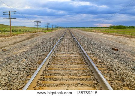 Railroad Tracks And Transmission Lines