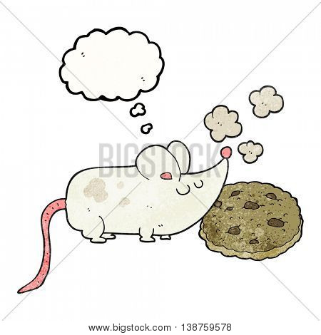 cute freehand drawn thought bubble textured cartoon mouse and cookie