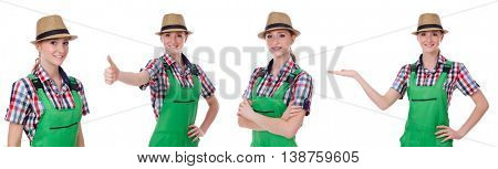 Collage of woman wearing green coveralls isolated on white
