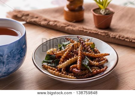 Fried Insects - Bamboo Worm Insect Crispy With Pandan After Fried And Add A Light Coating Of Sauce A