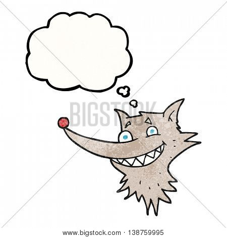 freehand drawn thought bubble textured cartoon grinning wolf face