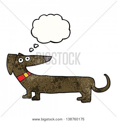 freehand drawn thought bubble textured cartoon sausage dog