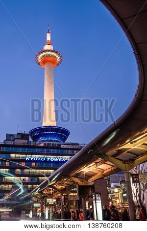 KYOTO, JAPAN - APRIL 7, 2014: Kyoto tower at night. The tower dates from 1963.