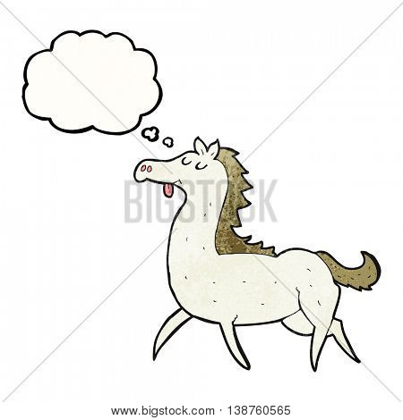 freehand drawn thought bubble textured cartoon horse