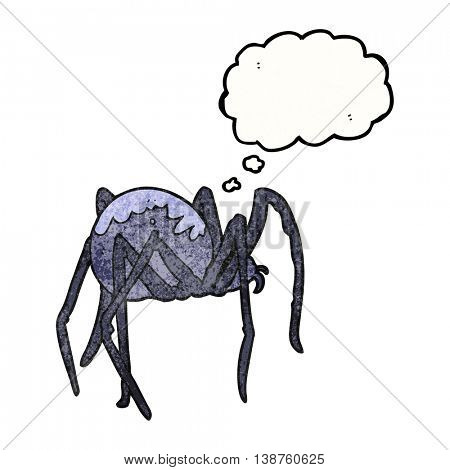 freehand drawn thought bubble textured cartoon creepy spider