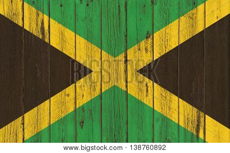 Flag of Jamaica painted on wooden frame