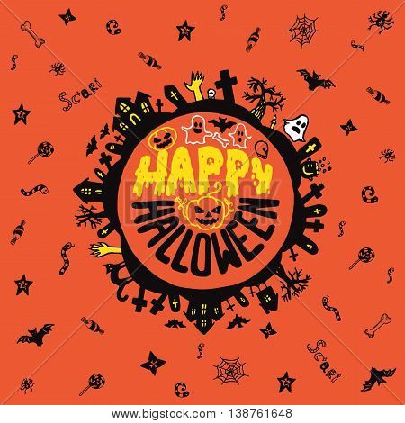 Halloween card with hand drawn lettering cemetery landscape and scary elements on orange background. Vector hand drawn illustration.