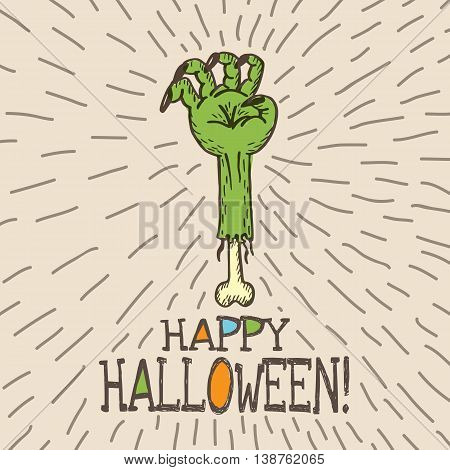 Halloween card with hand drawn dead man's arm on beige background. Vector hand drawn illustration.