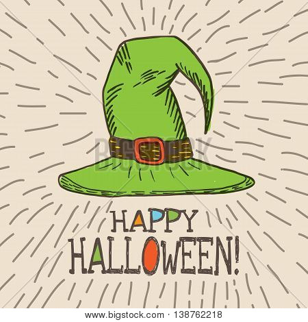 Halloween card with hand drawn witch hat on beige background. Vector hand drawn illustration.