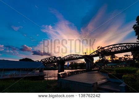 Sunset On Bridge Over The River Kwai In Kanchanaburi
