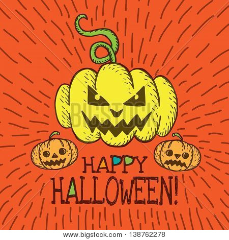 Halloween card with hand drawn pumpkin on orange background. Vector hand drawn illustration.