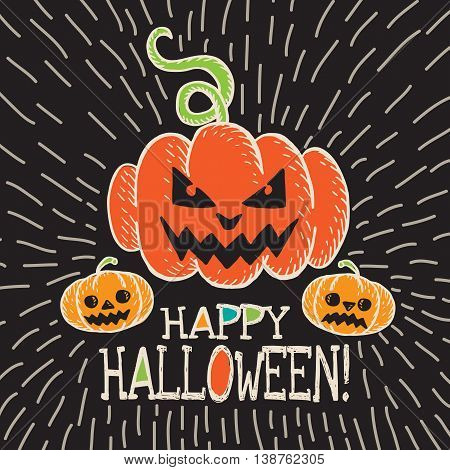 Halloween card with hand drawn pumpkin on black background. Vector hand drawn illustration.