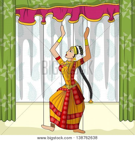 Vector design of colorful Rajasthani Puppet doing Kuchipudi classical dance of Andhra Pradesh, India