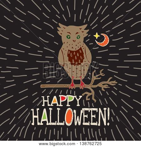 Halloween card with hand drawn owl silhouette on moon background. Vector hand drawn illustration on black background.