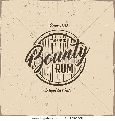 Vintage handcrafted label, emblem with old barrel and vector sign - bounty rum. Sketching filled style. Retro design for advertising, tee, t shirt prints. Isolated on grunge paper background. Vector.