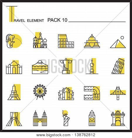 Travel Element yellow Line Icon Set 10.Landmark thin icons.Color pack.Graphic vector logo set.Pictogram design.