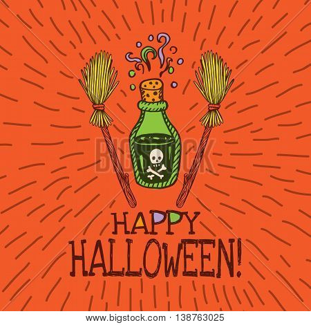 Halloween card with hand drawn magic potion bottle and broom on orange background. Vector hand drawn illustration.