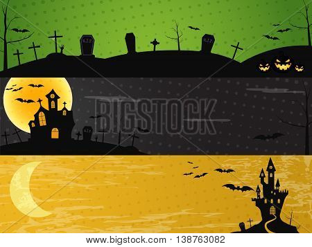Three Halloween landscape banners. Green, dark and orange designs. Can be use on web, print. As invitation, flyer card, halloween poster etc. Creepy design for celebration holiday Vector illustration