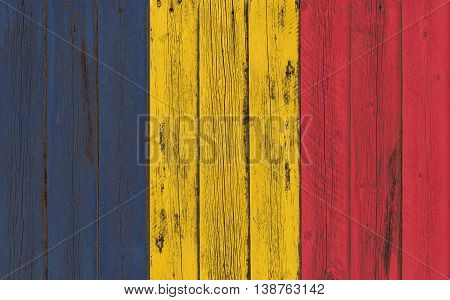 Flag of Chad painted on wooden frame