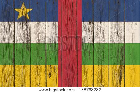 central african republic flag on old wood texture background - old wood background - Text