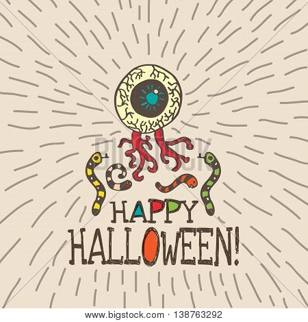 Halloween card with hand drawn zombie eye with worms on beige background. Vector hand drawn illustration.