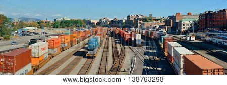 VANCOUVER, BC - AUG 17: Cargo train with containers on August 17, 2015 in Vancouver, Canada. With 603k population, it is one of the most ethnically diverse cities in Canada.