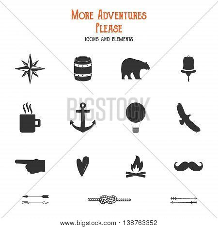 Outdoor icons and elements set for creation hiking, camping logo and other designs. Solid flat vectors isolated. Travel symbols gear. Hipster adventure filled elements. Create own badge, insignias.