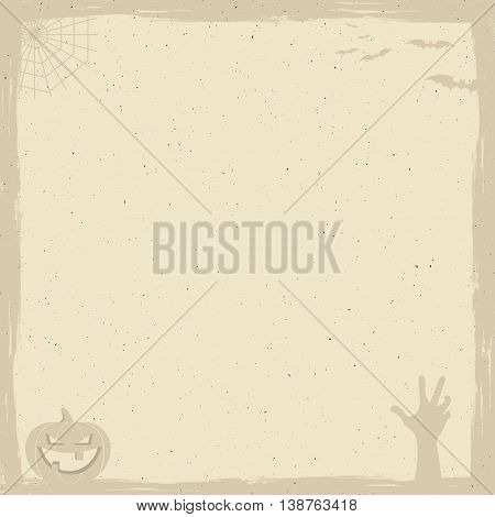 Happy Halloween Poster template with holiday symbols - bat, pumpkin, hand, witch hat, spider web and other. Add your design or text. Use as retro banner, party flyer design etc. Vector illustration
