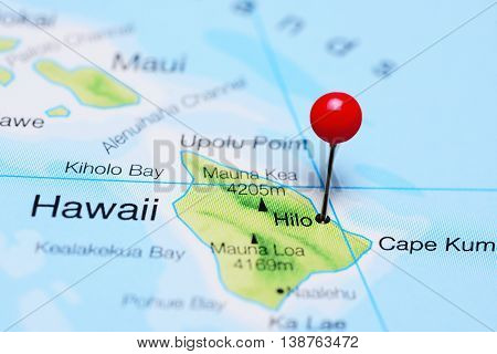 Hilo pinned on a map of Hawaii