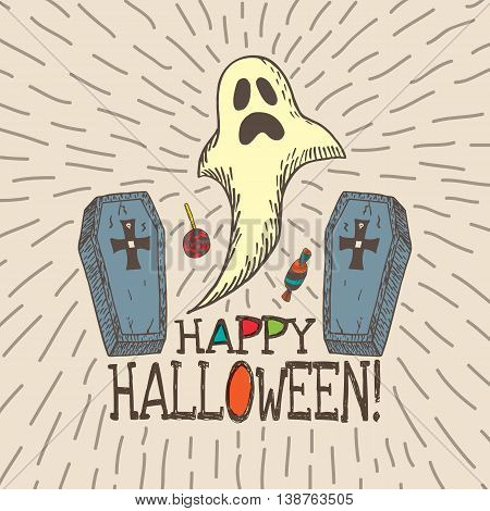 Halloween card with hand drawn ghost, coffins and candy on beige background. Vector hand drawn illustration.