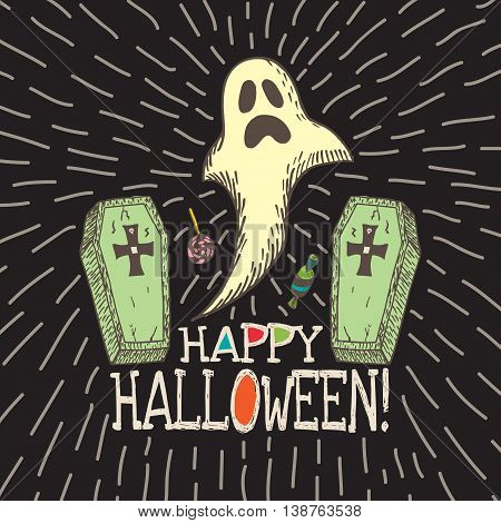 Halloween card with hand drawn ghost, coffins and candy on black background. Vector hand drawn illustration.